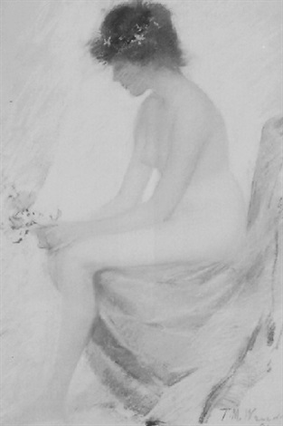 young girl seated nude with flowers by theodore wendel