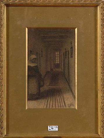 religieuse dans un couloir by xavier mellery