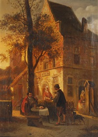 gentilhomme prenant son repas devant une auberge by françois jean louis boulanger