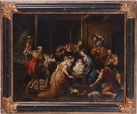 the adoration of the christ child by continental school