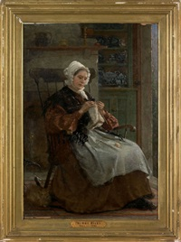 interior scene with a woman knitting by thomas hicks