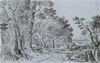 bauernhaus an einem waldweg, im hintergrund weite landschaft by friedrich müller