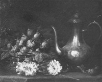 still life of strawberries and pewter pot by edmond lesellier