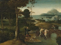 st. hubert and the stag in a landscape by dutch school-southern (16)