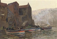 high water, staithes, yorkshire (+ pilchards; pair) by alexander carruthers gould