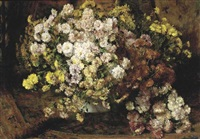 a flower still life with chrysanthemums by willem elisa roelofs