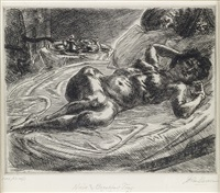 nude and breakfast tray (+ 2 others; 3 works) (from nude at bedside) by john french sloan
