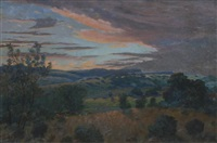 landscape at sunset by cathcart william methven