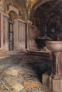 blick ins baptisterium von san marco by josef jungwirth