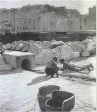 two boys playing near a sunlit harbour by numa-camille ayrinhac