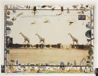giraffes in mirage on the taru desert, kenya, june (for the end of the game, last word from paradise) by peter beard