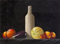 still life with bottle and fruits by susan conneff