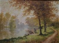 les lavandières à la rivière by albert gabriel rigolot