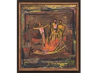figures round the fire by walter whall battiss