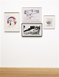 untitled (waving an american flag); untitled (c'mon ray...); untitled (a red carpet...); untitled (he knew about her...) (4 works) by raymond pettibon