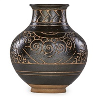 large vase with incised decoration by emile lenoble