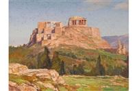 blick auf die akropolis in athen by georg macco