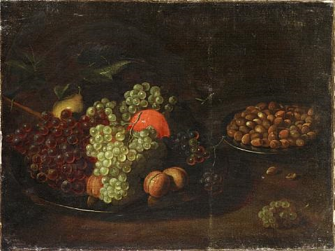 a pear, an orange, grapes and hazelnuts on pewter plates on a table top by isaac soreau