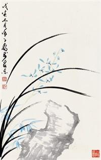 兰石图 镜片 设色纸本 by xu zihe