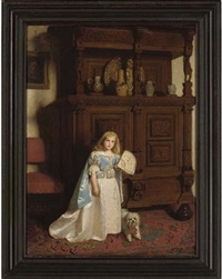 portrait of a girl holding a fan, a dog by her side by william baxter collier fyfe