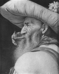 portrait of a bearded man with pipe by franz leitgeb