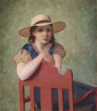 young girl with sun hat by helge helme