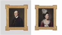 portrait of a lady, half-length, in a red floral dress and white bonnet and portrait of a gentleman, half-length in a dark blue coat and white stock (pair) by francis cotes
