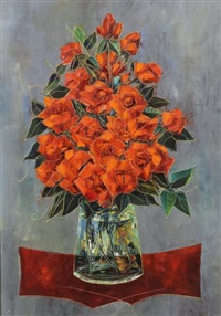 bouquet de fleurs dans un vase sur un entablement by tony agostini