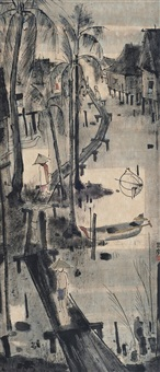 kampong scene with jetty and figures by cheong soo pieng