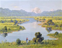 landscape with river by john littlejohns