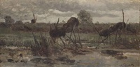 a polder landscape with duck baskets, noorden by willem roelofs