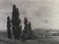 landscape with poplars by erik (sir) langker