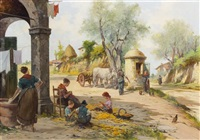 village scene with children shucking corn by aldo fortunati