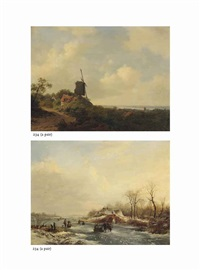 a summer view over a river valley with figures near a mill (+ a winter view of a frozen waterway with figures on the ice by a bridge; pair) by frederik marinus kruseman