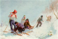 children skiing and sledging by gervasia vartanyan