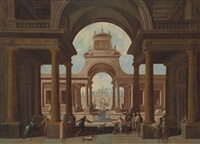 an architectural capriccio with a king kneeling and other figures conversing in the foreground before a pagan sacrifice with animals by vicente giner