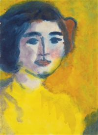 frauenbildnis in goldenem licht (portrait of a woman in golden light) by emil nolde