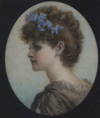 a canadian: a young lady, wearing grey dress and blue flowers in her upswept hair by norman prescott davies