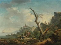a river landscape with figures reclining in the foreground by carlo bonavia