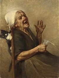 an elderly lady frightened by a cat by max alandt