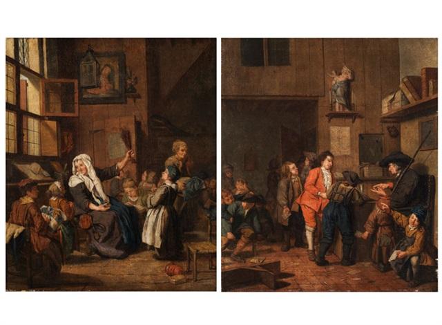 mädchen mit lehrerin in einem schulraum knaben mit lehrer in einer dorfschule pair by jan josef horemans the younger