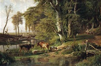 grazing cattle by a woodland stream by paul joseph constantin gabriël