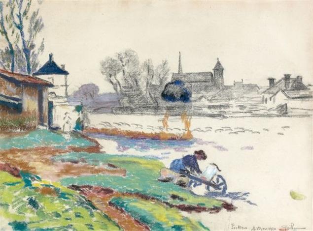 paysage et fermière au bord de la rivière by armand guillaumin