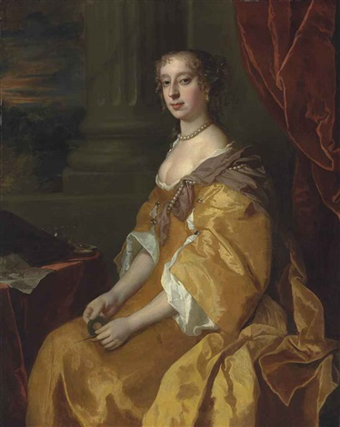 portrait of anne killigrew c 1660 1685 three quarter length in a yellow dress holding a porte crayon by a table a draped curtain by sir peter lely