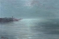 moonlight on lake lenape near may's landing lighthouse, new jersey by eva ellsworth dungan