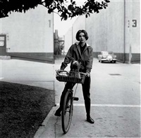 audrey hepburn on her bike at paramount studios by sid avery