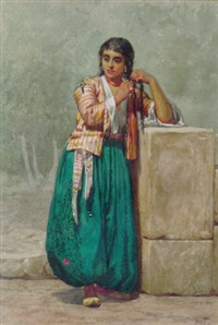 a north african beauty braiding her hair by willem de famars testas