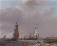 shipping in a stiff breeze off the dutch coast by johannes koekkoek