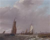 shipping in a stiff breeze off the dutch coast by johannes koekkoek