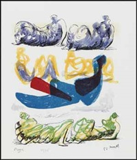 reclining figures with blue central composition from the shelter sketchbook by henry moore